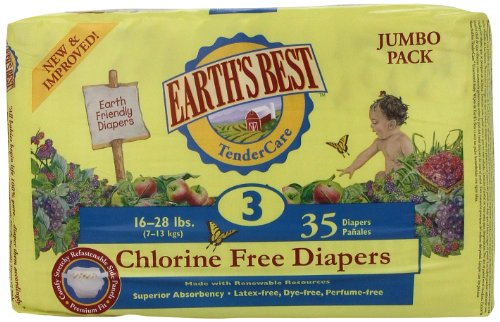 Earth'S Best Chlorine Free Diapers, Size 3, 140 Count