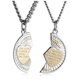 "Sterling Silver and Stainless Steel Mizpah Medal Necklace, 20"" and 24"""