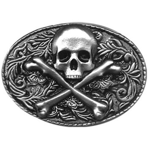 Western Skull and Bones Biker Belt Buckle