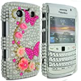 Cooltechstuff White Hard Fitted Case Cover/Pearl Butterfly Diamond Flower For Blackberry Bold 9700
