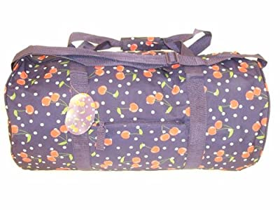 Womens Ladies Girls Navy Cherry Print Holdall Maternity Travel Weekend Bag - Peppermint Bags