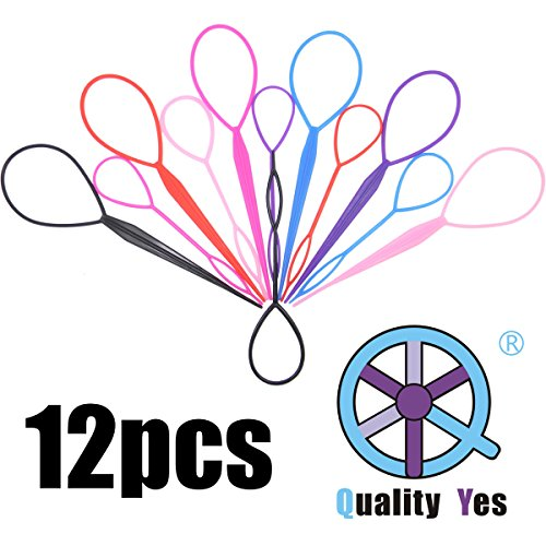 QY 14PCS Colorful Different Size Plastic Hair Braid Ponytail Makers Styling Loops Tool