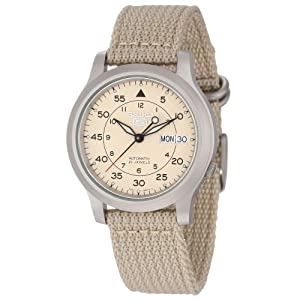 "Seiko Men's SNK803 ""Seiko 5"" Automatic Watch with Beige Canvas Strap"