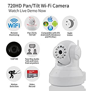[Updated Version] IP Camera, NexGadget HD WiFi IP Security Camera Surveillance System Video Recording Sonic Recognition P2P Pan Tilt Remote Motion Detect Alert With Two-Way Audio