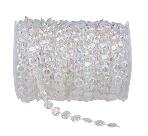Clear Iridescent 99 ft Clear Crystal Like Beads by the roll - Wedding Decorations (Crystal Beads 10mm compare prices)