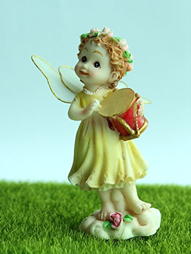 Garden Fairy Ornament Home & Outdoor Decoration Yellow Angel with Red Drum