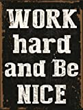 Work Hard and Be Nice Metal Sign, Positive Lifestyle Poster, Modern Den Decor