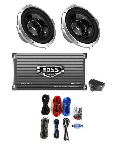 "2) Vm Audio Srw10 10"" 1600W Car Subwoofers + Ar16004 1600W 4-Ch Amp + Amp Kit"