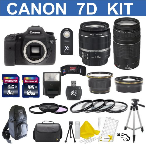 Canon EOS 7D 18 MP CMOS Digital SLR Body with EF-S 18-55mm IS II Lens & EF 75-300mm III Lens With 58mm High Definition Wide Angle Lens + 58mm 2X Telephoto Lens + Macro Close-Up Set + Auto Slave Flash + Filter Kit with 24GB Deluxe Accessory Bundle (Cf Card 8gb Canon 7d compare prices)