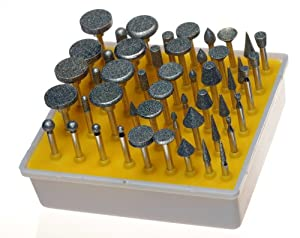 SE 8235DD12 50-Piece Diamond Burr Set, 1/8-Inch Shank, Grit 120