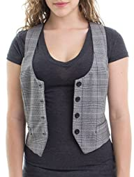 Ragstock Women's Plaid Button Up Vest…