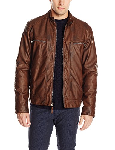 calvin klein men's faux leather moto jacket with hoodie brown
