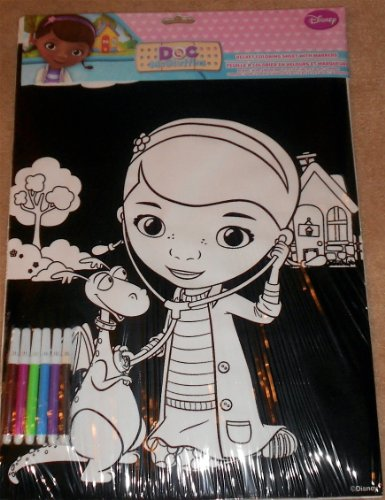 Disney Junior Doc Mcstuffins Velvet Coloring Sheet With Markers - 1