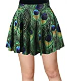 AZIZY Women's Causal Peacock Digital Print Stretchy Pleated Skater Mini Skirt
