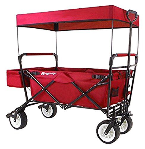 Everyday Sports High-End New 4th Generation Outdoor Utility Collapsible Folding Wagon with Canopy & Safety Seat Belt, Auto Locks, Spring Bounce, Brake, Stand, Eva Wide Tire, Red (Folding Wagon With Seats compare prices)