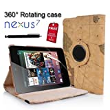 N9-Online Retro Vintage Map Globe Design 1 Wallet PU Leather Flip Case Cover with Full Sleep Wake Function and Free Screen Protector for 1st Generation Asus Google Nexus 7