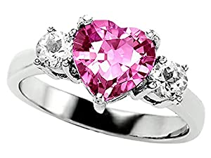 Star K 8mm Heart-Shape Created Pink Sapphire Engagement Ring Size 9.5 by Star K