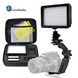 LimoStudio 160 LED Video Light Lamp Dimmable Panel and Charger for DSLR Camera DV Camcorder with Hard Carry Case, Camera Bracket Mount Heavy Duty L-bracket with Standard Flash Shoe Mounts, AGG1805