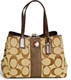COACH SIGNATURE C KHAKI MAHOGANY CARRYALL/ SATCHEL 13533