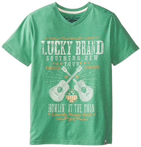Lucky Brand Big Boys' Lucky Band Tee, Green Hthr, X-Large back-1022418