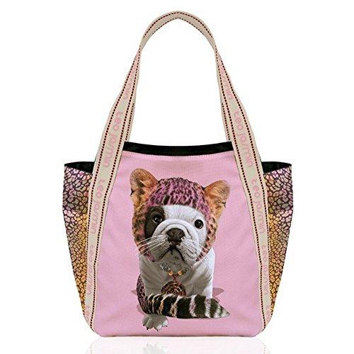 TEO JASMIN - Grand cabas bulldog teo jasmin leopard chamalow