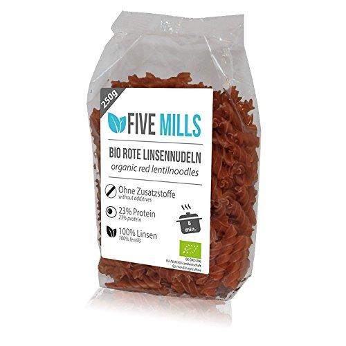Image of BIO Linsennudeln aus 100% Linsenmehl 250g mit 23% Protein vegan und glutenfrei von Five-Mills.de für Muskelwachstum und Muskelerhalt - Eiweißnudeln geeignet als Fleischersatz und Supplementersatz low fat