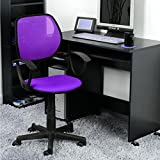 FurnitureR Purple Comfortable Mesh Home Office Computer Desk Chair with Fabric Pads