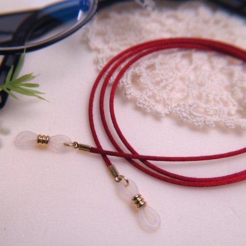 フランス製サテンコード めがねチェーン 赤 金色金具 シンプル 眼鏡 チェーン 紐 メンズ レディース