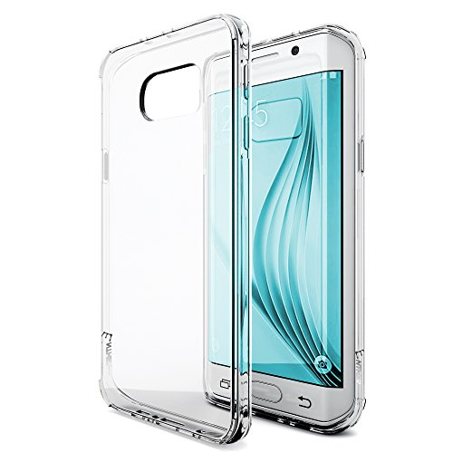 Galaxy S7 Edge Case, Enther [Ultimate Cushion] Slim Fit Scratch/Dust Proof Hybrid Transparent Clear Case with Shock Absorb Trim Bumper - Authentic Retail Packaging - Warranty
