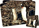 Penguins Twin Coaster and Placemat Set, Ref:AB-85PC