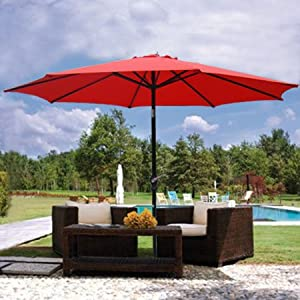 9ft 9 39 Outdoor Patio Furniture Umbrella Red Polyester 8 Ribs Construction 7 2 3
