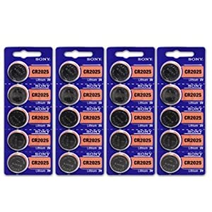 4 X Sony CR2025 3 Volt Lithium Manganese Dioxide Batteries, Genuine Sony Blister Packaging (20 Pieces)