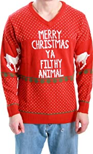 Ugly Christmas Sweater Home Alone Merry Christmas Ya Filthy Animal from Costume Agent