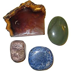 Crystal Healing Set 17 Charoite Dumortierite, Jade Stones & Carnelian Charger Slab Chakra Layouts 2.5""