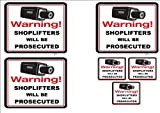 6 PACK #110 VIDEO & SHOPLIFTERS WILL BE PROSECUTEDV- 3 SIGNS & 3 DECALS