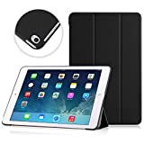 MoKo iPad Air 2 Case - Ultra Slim Lightweight Smart-shell Stand Cover Case with Rubberized back for Apple iPad Air 2 (iPad 6) 9.7 Inch iOS 8 Tablet, BLACK (with Smart Cover Auto Sleep / wake)