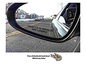 (Pair) Objects in Mirror are Losing Decal BLACK Etched Glass Funny Sticker (Come With Free stickerbomb hand decal)