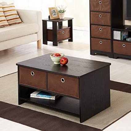 Fresco Collection Coffee Table w/Open Shelf Storage & Removable Bins