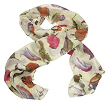 Birds Print Scarf All Season (Beige)