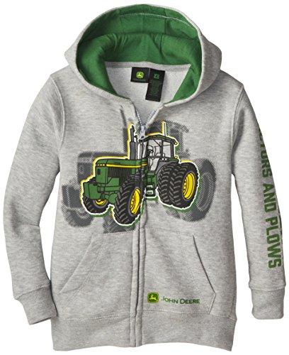 John Deere Little Boys' Tractor And Plows Fleece Zip Hoodie, Grey, 6 front-295899