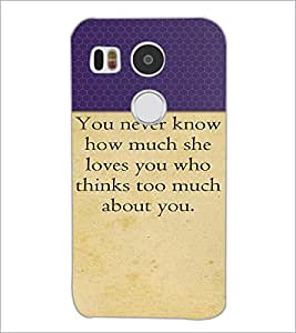PrintDhaba Quote D-2645 Back Case Cover for LG NEXUS 5X (Multi-Coloured)