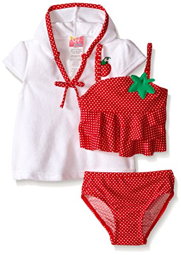 Sol Swim Baby Strawberry Doll Swimsuit with Terry Cover Up, Red, 3-6 Months