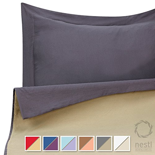 Duvet Cover Set for Comforter, Twin, Reversible Gray and Sage Green