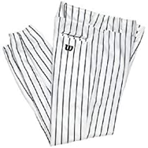 Wilson Youth Team Poly Warp Knit Pinstripe Baseball Pant, White with Navy Pinstripes, X-Small