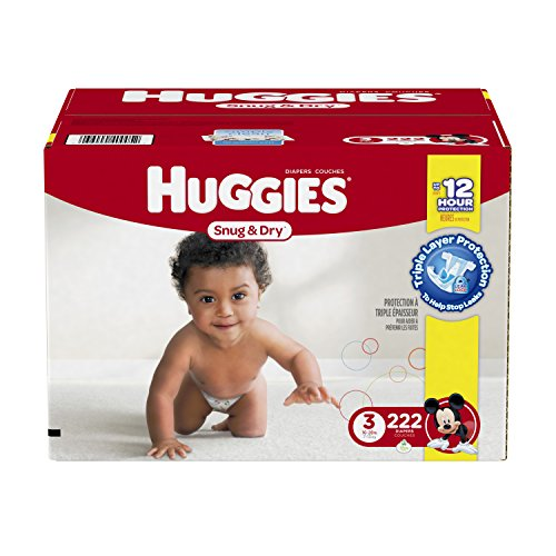 Huggies Snug and Dry Diapers, Size 3, Economy Plus Pack, 222 Count