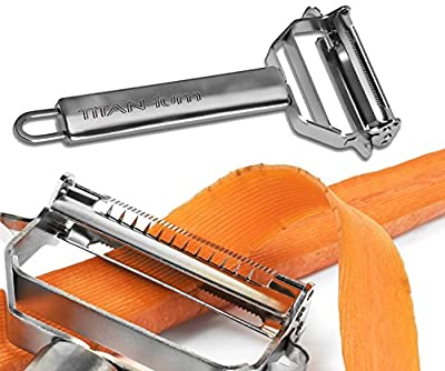Best Julienne Vegetable Peeler Set Peels Potato Pineapple Carrot Apple Stainless Steel Paleo Kitchen Tool and Better than Titan or Rotato Squash and More Lifetime Guarantee Julianne Juliene Julliene Jullienne Now with FREE Spiral Peeler Included by. TiTAN