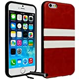 Ownstyle4you Protective Silicone TPU Case Skin Cover for Apple iPhone 6 incl. Screenguard and Touchpen Two Stripes Red