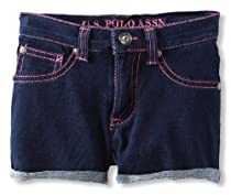 U.S. POLO ASSN. Girls 2-6X Rolled Cuff Stretch Denim Short, Light Pink, 5