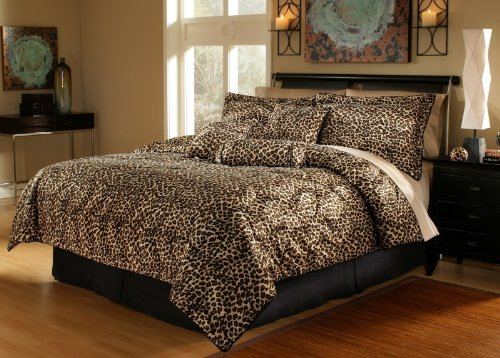 7Pcs Queen Leopard Faux Fur Bed in a Bag Comforter Set