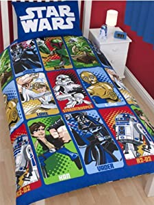 parure housse de couette linge de maison star wars cartoon lit 1 personne decoration chambre. Black Bedroom Furniture Sets. Home Design Ideas
